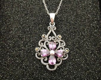 Amethyst and Marcasite Sterling Silver Pendant Necklace