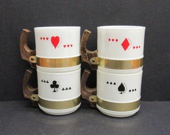 Vintage Siesta Ware Milk Glass Poker Suit Wood Handled Mugs, Set of 4 (E9946)