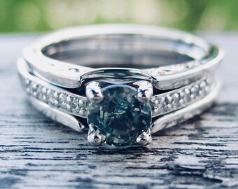 Green Blue Montana Sapphire Engagement Ring in Platinum with Diamonds and Wedding Band Wrap Around Size 7
