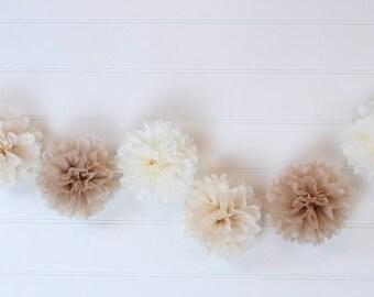Tissue Flowers GARLAND - Champagne/Tan/Mocha - Pom Poms Garland - Party decoration - Nursery Decorations - Paper Pom Poms - Wedding set