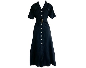 Vintage Daks Dress London Linen Black 90s Belted Maxi Size Medium