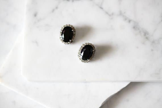 1960s black rhinestone earrings // 1960s earrings // vintage earrings