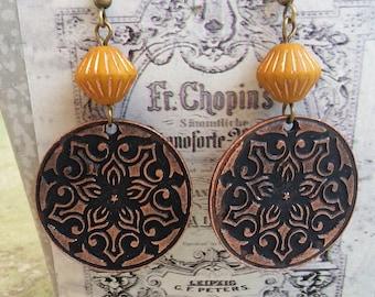 Copper Boho earrings dangle Brass Earrings Bohemian Earrings Mustard earrings Metal Earrings Dangle Drop Earrings Hippie ethnic earrings