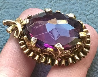 1900's antique Edwardian Large Purple Glass? Crystal? Very Beautiful Brass Pendant