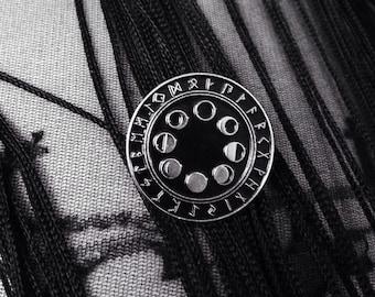 Moon Phase & Rune (SMALL) Soft Enamel Pin