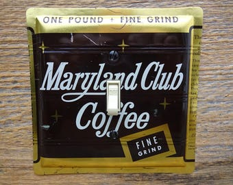 Gold Brown Decor Light Switch Cover Switchplate Single Switch Plate Made From Vintage Maryland Club Coffee Tins Tin Can SP-0017