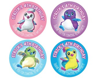 Set of Personalized Birthday Party Girl Boy Hatchimal Stickers hatchimals penguala draggles