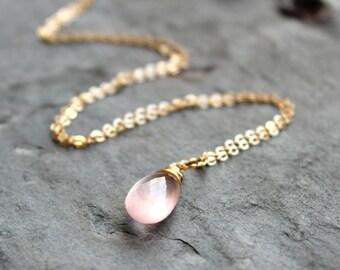 Gold Rose Quartz Necklace Briolette Pendant Necklace 14k Gold Filled Pink Teardrop