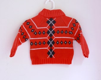 Vintage baby sweater argyle red white and blue holiday outfit 9 to 12 months