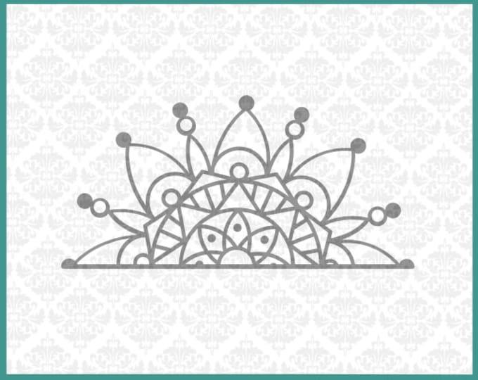 CLN0208 Half Mandala Boho Car Decal Circle Henna Design  SVG DXF Ai Eps PNG Vector Instant Download Commercial Cut File Cricut Silhouette
