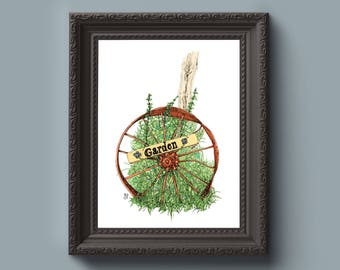 Wheel of Garden Art Print - Flowers, Vintage, Farm, Floral, Foliage, Wagon, Home Gift, Wall Art, Gift for Her, Gift for Mom