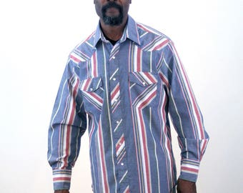90s Wrangler Western Shirt L, Gray Striped Wrangler Shirt, Vintage Wrangler Pearl Snap Shirt, Cowboy Shirt, Square Dance Shirt, Large