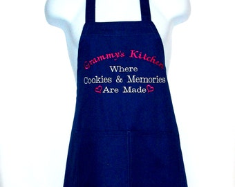 Grammy's Kitchen Apron, Where Cookies And Memories Are Made, Custom With Gran, Nannie, No Shipping Fee, Ready To SHIP TODAY, AGFT 920