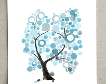 BLUE TREE of LIFE - Giclee Art Print Reproduction of Watercolor Painting - Trees of Life Collection