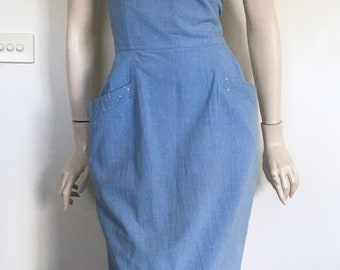 Vintage 80's Denim Wiggle Dress  / Rock / Medium