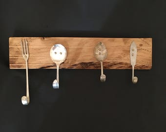 Cutlery Coat Hooks - Set of 4 - different mixed designs, Wall Hooks, Upcycled Forks and Spoons, Metal Wall Decor