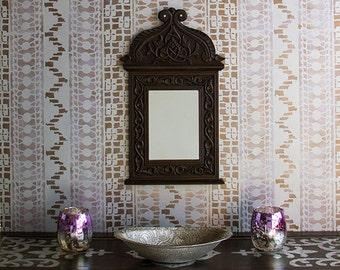 Medium Lace Wall Stencil - African Tribal Vintage Wall Mural Art - Painted Pattern Wallpaper Look for Less