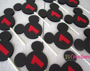 Mickey Mouse Cupcake Toppers - set of 12