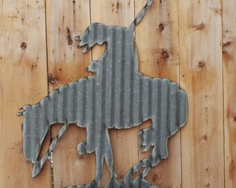Large Corrugated Metal  End of the Trail Indian Wall Hanging FREE SHIPPING