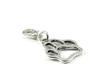 Clearance Sale Dog Paw Zipper Pull Purse Charm Silver Clip On Charms