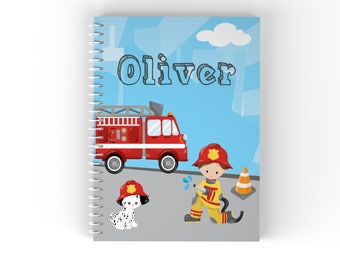 Firefighter Personalized Notebook - Firefighter Fire Truck Sky Road with Name, Customized Spiral Notebook Back to School
