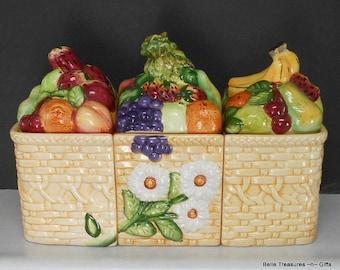 Large Ceramic Fruit Basket Trio Canister Set. 3 canister Cookie Jar Set