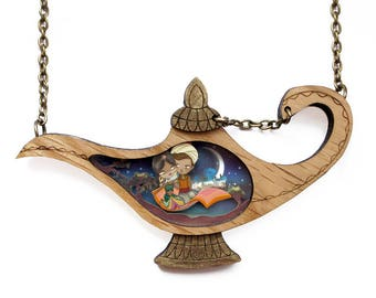 Aladdin. Necklace with tiny scenes inside. LaliBlue