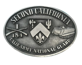 Vintage Second California Infantry Belt buckle - 2nd Army National Guard 184 - Military Gift Idea for men - Tank Shotgun Gun Rifle