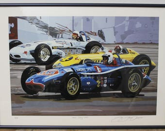 """Sue Steele Thomas Signed & Numbered Print """"Three Indy Cars"""" Limited Edition 15/100"""