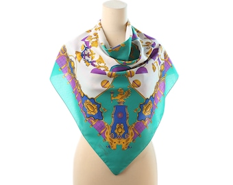 Gold Printed Royal Scarf 80s BAROQUE Style Vintage Bohemian Boho White Teal Green Shawl Luxury Neckerchief Unisex Neckwear Muffle Gift Urban