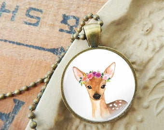 Deer Pendant, Fawn Glass Necklace, Deer and Flowers Pendant, Baby Deer Pendant, Boho Deer Pendant