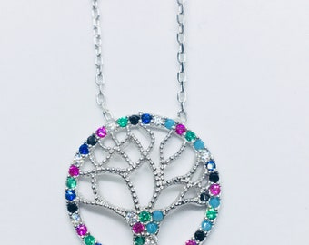 Tree of Life Sterling Silver 925 Necklace with Cubic Zirconia and Turquoise stones