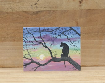 Oil painting Original Landscape painting sunset Mini landscape Miniature painting Small oil painting Artwork Mini wall ar Cat panther canvas