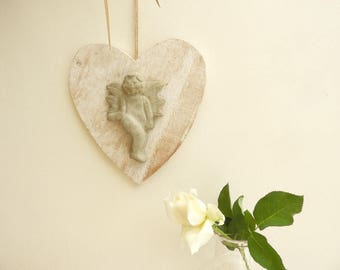 Wooden heart and his Angel concrete-shabby chic Angel, heart decoration, deco Angel, concrete angel - mother's day gift