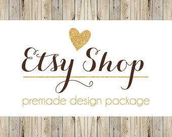 Etsy Shop Design, Etsy Banner, Premade Design Package, Etsy Cover & Shop Icon / Wood Country Chic, Gold Glitter Heart, Rustic Banner / Logo