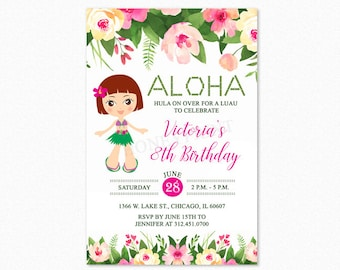 Luau Birthday Party Invitation, Luau Invitation, Hula Girl 3, Personalized, Printable or Printed Invitations