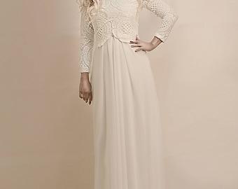 Long sleeve lace wedding dress, bohemian bridal gown, boho wedding dress, wedding dress bohemian,Long Skirt, Chiffon and lace dress,
