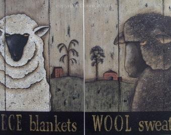 Sheep Art Prints, vintage inspired Black & White Sheep Folk Art Prints, Set of 2, Fleece Blankets, Wool Sweaters by Donna Atkins