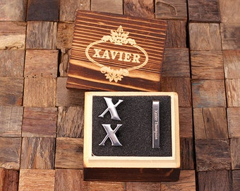 "Initial "" X "" Personalized Men's Classic Cuff Link & Tie Clip with Wood Box Monogrammed Engraved Groomsmen, Best Man, Father's Day Gift"