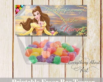 Belle favor bag topper, Beauty and the beast birthday, Princess Belle, Candies bag topper, Beauty and the Beast, Belle thank you topper