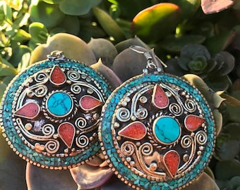 Turquoise & Red Coral Boho Earrings