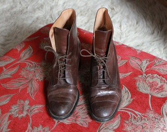 Brown Leather Ankle Boots // Lace Up Boots // Vintage Ankle Boots // 90s Ankle Boots Heel Boots Sadie Vain Size 40