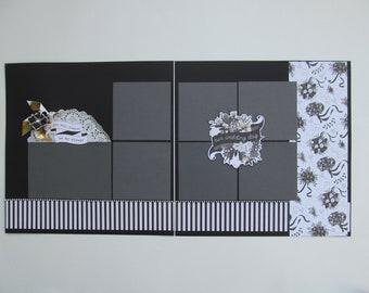 Wedding Day Premade or  DIY Kit,12x12 Scrapbook Layout, Scrapbook Page Kit