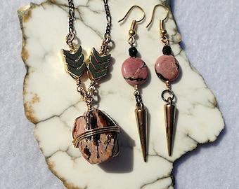 Rhodonite Jewelry, Rhodonite Necklace, Rhodonite Earrings, Rhodonite Pendant, Pendant Necklace, Raw Stone Necklace, Raw Crystal Necklace