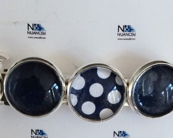 Barrettes  / set of 2 /navy and dot