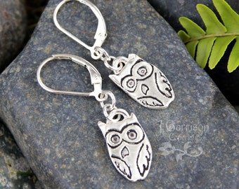 Charming owl earrings - fine silver hand stamped owls on sterling silver lever back ear wires - handmade