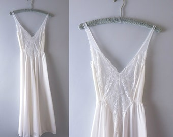 Vintage Olga Nightgown | 1990s Olga White Lace & Chiffon Bridal Gown Nightgown S