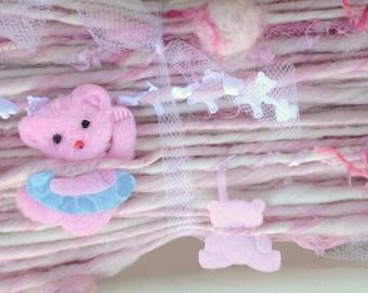 Handspun Art Yarn / Teddy Bear / Cute One of a kind / You choose colors / Custom made by Fiber Artist GERRY