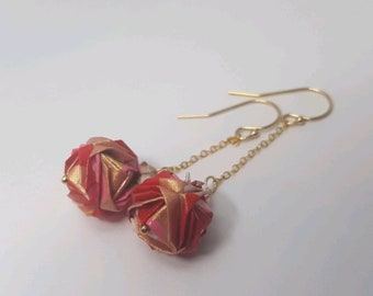Origami ball earrings
