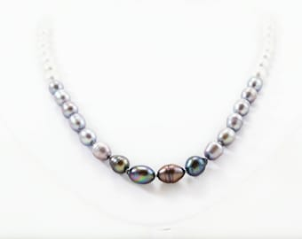Ombre Necklace, Gray Pearl Necklace, Freshwater Pearls, Black Pearl, White Pearl, Adjustable Pearl Necklace, Sterling Silver Pearl Necklace